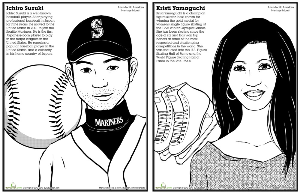asian pacific american history month coloring pages - Black History Coloring Pages